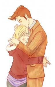 hugging a short-girl