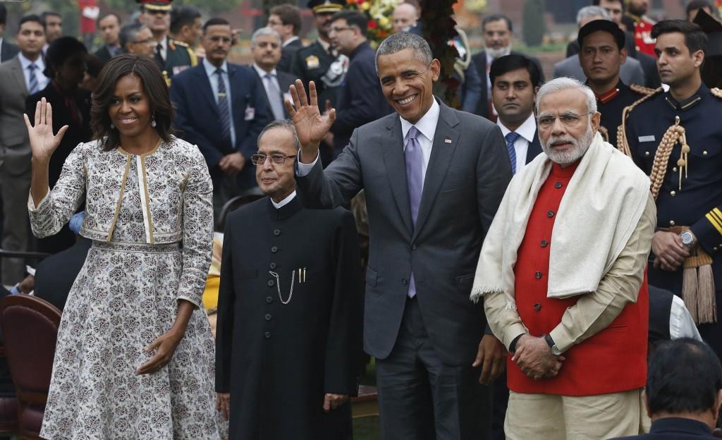 U.S. President Barack Obama, first lady Michelle Obama, India's President Pranab Mukherjee, Prime Minister Narendra Modi