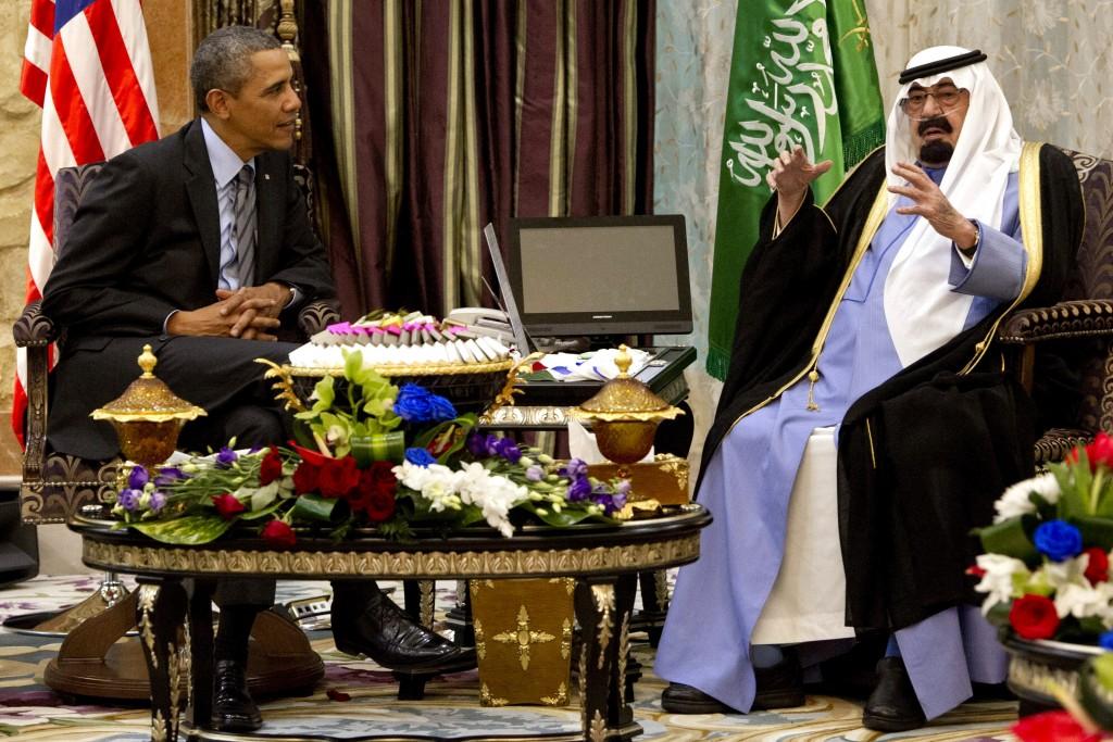 US President Barack Obama meeting with Saudi King Abdullah at Rawdat Khurayim