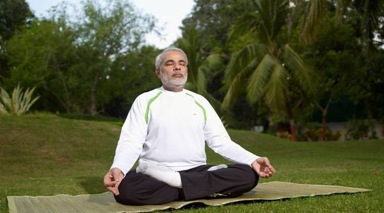 PM Modi doing Yoga
