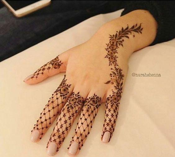 Floral Net Mehendi Design images