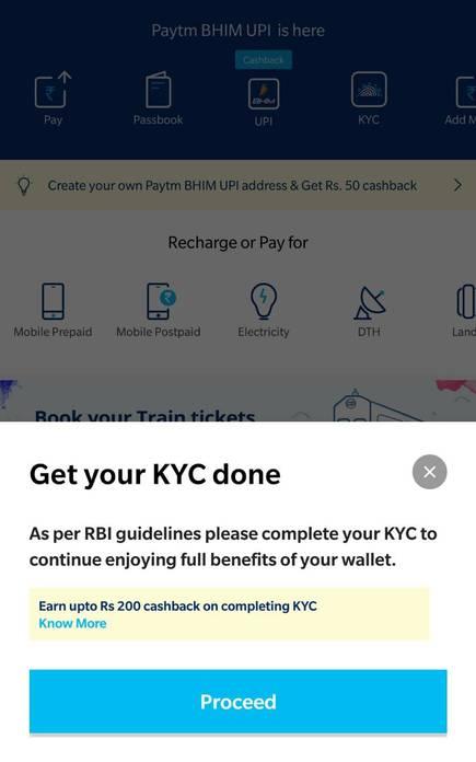 KYC linking in Paytm